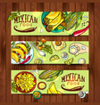 banners with mexican food vector image