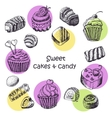 Set of isolated sweet cakes and sweets vector image