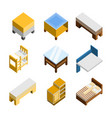 3d isometric home furniture set vector image
