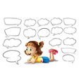 A smiling girl and speech bubbles vector image vector image