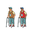 african and caucasian elderly with walker vector image