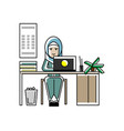 arabic secretary working at laptop in office vector image vector image