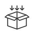 arrow and open box shipping and logistic icon vector image vector image