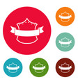 badge king icons circle set vector image vector image
