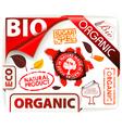bio eco organic stickers vector image vector image