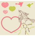Birds flower and hearts concept vector image