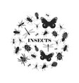 black insect silhouettes vector image