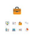 business icons flat style set with authentication vector image