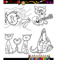 cartoon characters set for coloring book vector image vector image