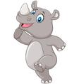 Cartoon happy rhino posing isolated vector image vector image