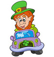 cartoon leprechaun driving car vector image vector image
