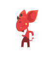 cheerful little devil dancing and showing his vector image