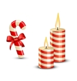 Christmas Candy Cane and Candles vector image