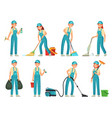 cleaning workers professional cleaning staff vector image