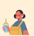 cute woman drinking coffee smiling girl avatar vector image