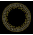 decorative golden circle frame on black background vector image vector image