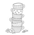 doodle coloring book page for adults cups vector image vector image