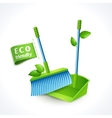 Ecology symbol dustpan and brush vector image vector image