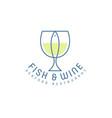 fish and wine flat logo seafood restaurant emblem vector image vector image