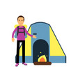 flat cartoon tourist character standing near vector image vector image