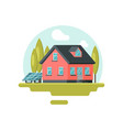 flat icon of traditional family house with vector image vector image