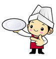 funny cook character is holding a plate isolated vector image vector image