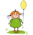 funny girl with balloon vector image vector image