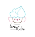 funny minimalistic kawaii cupcake logo vector image
