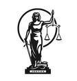 goddess justice themis symbol logo vector image