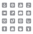 gray flat icon set 9 on rounded rectangle vector image vector image