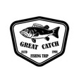 great catch emblem template with perch design vector image vector image