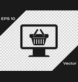grey computer monitor with shopping basket icon vector image vector image