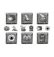 halloween icons on stone vector image vector image