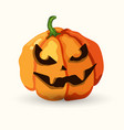 halloween spooky face pumpkin on white vector image