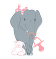 Hand drawn with a cute baby elephant celebrating vector image