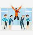 happy man in office vector image