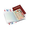 international passport with canada visa vector image vector image