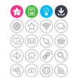 internet and web icons wi-fi favorite star vector image vector image