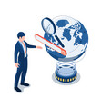isometric businessman touching search bar over vector image
