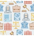 Law contour icons seamless pattern in flat design vector image vector image