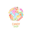 logo template candy shop vector image
