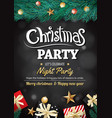 merry christmas party gift box and tree on black vector image