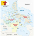 nunavut administrative and political map with vector image vector image
