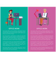 office work banners set workers pages text vector image vector image