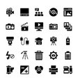 photography equipments glyph icons set vector image