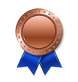 realistic 3d bronz trophy champion award medal vector image vector image