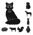 realistic animals black icons in set collection vector image vector image