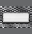 rectangle white 3d button with chrome frame on vector image vector image