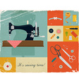 Retro Sewing Icon Set vector image vector image
