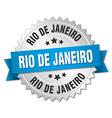 Rio De Janeiro round silver badge with blue ribbon vector image vector image
